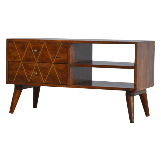 Amish Wooden Brass Inlay TV Stand In Chestnut