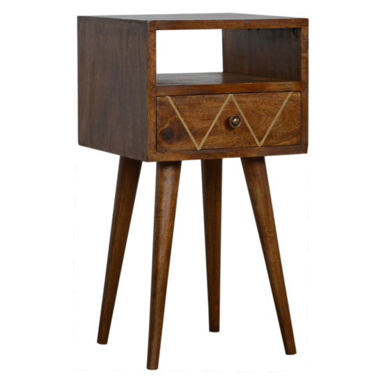 View Amish wooden petite brass inlay bedside cabinet in chestnut