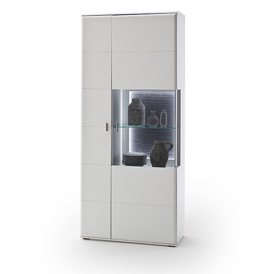 Amora LED Combi Display Cabinet In Matt White With 2 Doors