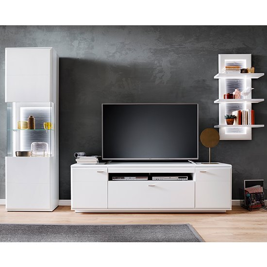 View Amora led living room set in matt white with shelf unit