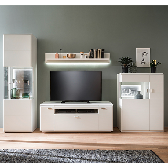 Amora LED Living Room Set In Matt White With Wall Shelf