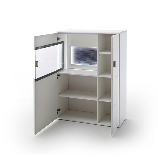 Amora Small LED Wooden Highboard In Matt White With 1 Door_3
