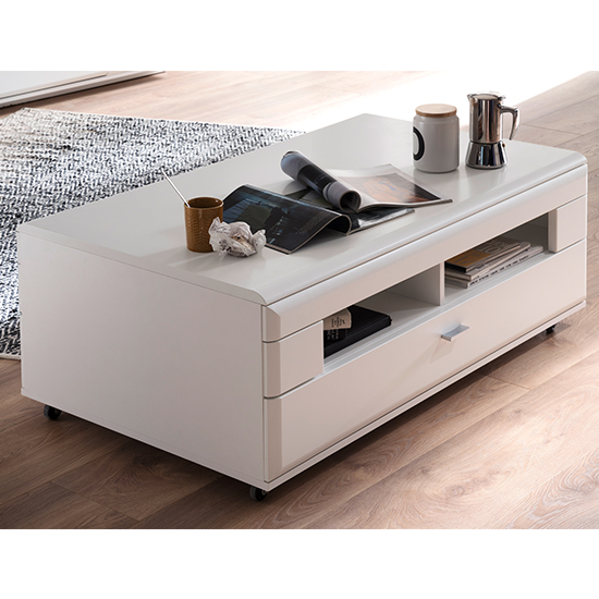 Amora Wooden Coffee Table In Matt White With 1 Drawer