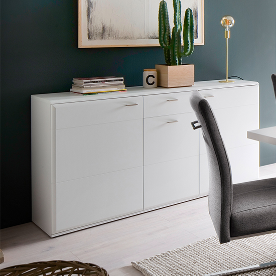Amora Wooden Sideboard In Matt White With 3 Doors 1 Drawer