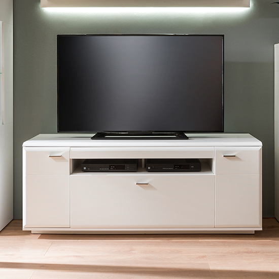 Amora Wooden TV Stand In Matt White With 2 Doors 1 Drawer