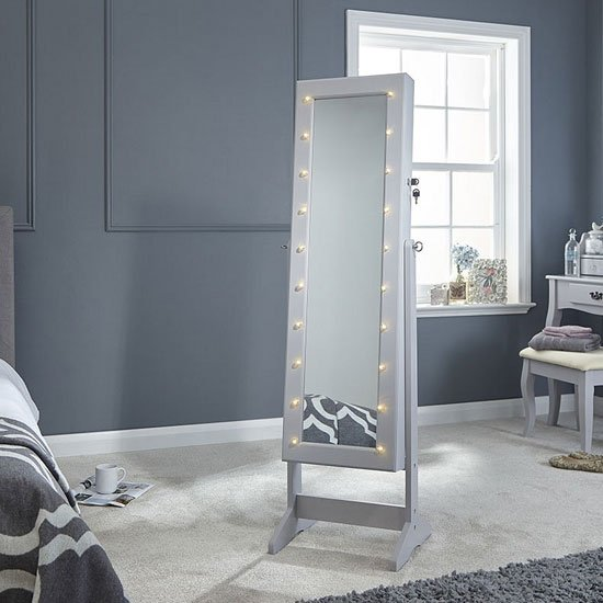 Amore LED Dressing Mirror In Grey With Jewellery Cabinet