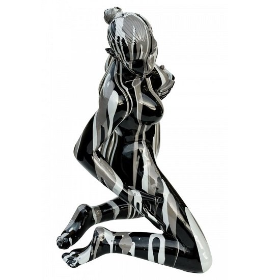 Amorous Lady Sculpture Pose Two In Black And White_2