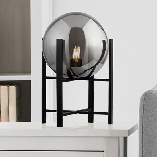 Amsterdam Table Lamp In Black With 4 Leg Base And Smoked Glass