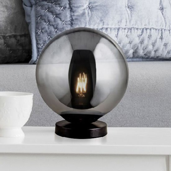 Amsterdam Table Lamp In Matt Black With Smoked Glass