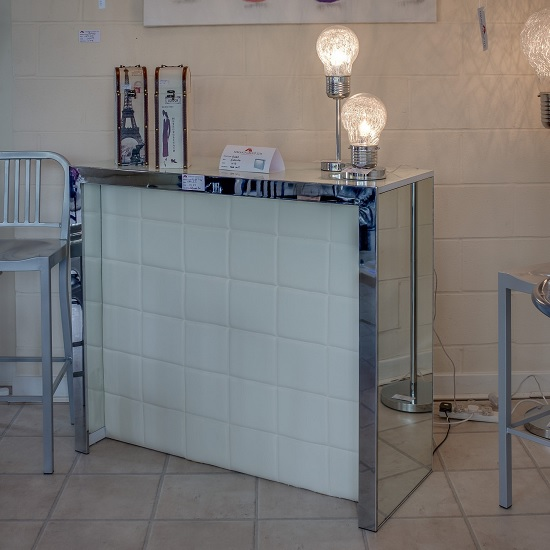 Amy Mirrored Bar Table In White With Frosted Glass Top And