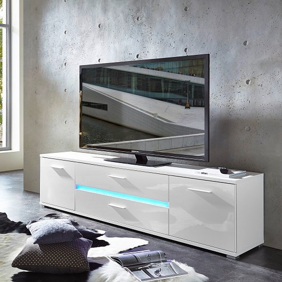 Amy Modern Tv Stand In White High Gloss Fronts With Led 1