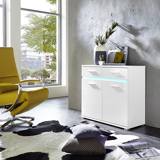 Amy Small Sideboard In White High Gloss Fronts With LED Lighting_1