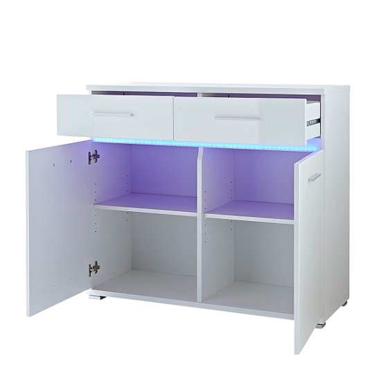 Amy Small Sideboard In White High Gloss Fronts With LED Lighting_2
