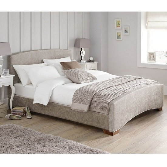 Anastasia Fabric Upholstered King Size Bed In Mink_1