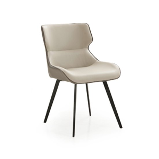 Ancha Dining Chair In Stone And Dark Grey