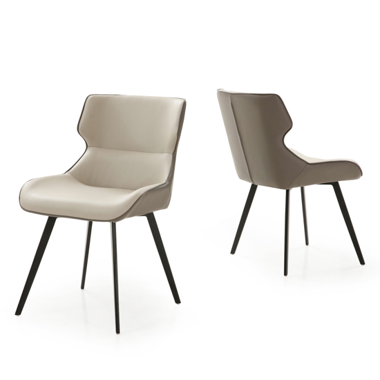 Ancha Stone And Dark Grey Dining Chairs In Pair