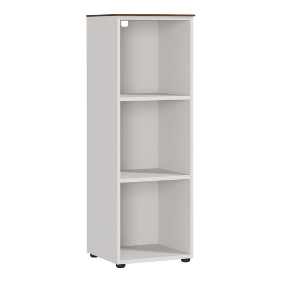 Ancona Wide Filing Shelving Unit In Cashmere And Walnut