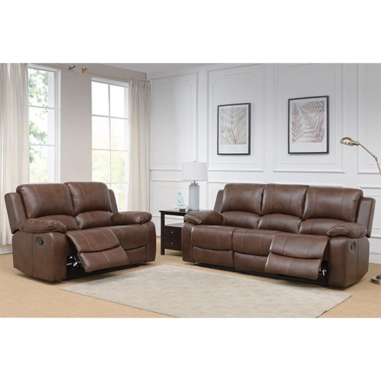 Andalusia Leather 2 Seater And 3 Seater Sofa Suite In Whiskey_1