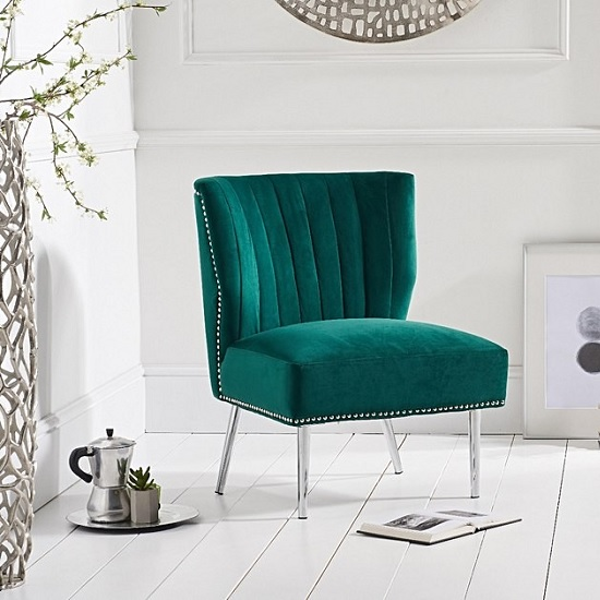 Andean Modern Accent Chair In Green Velvet With Metal Legs