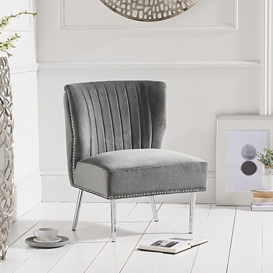 Andean Modern Accent Chair In Grey Velvet With Metal Legs