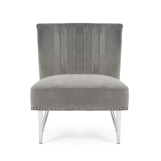 Modern Accent Chair With Metal Legs: Andean Modern Accent Chair In Grey Velvet With Metal Legs