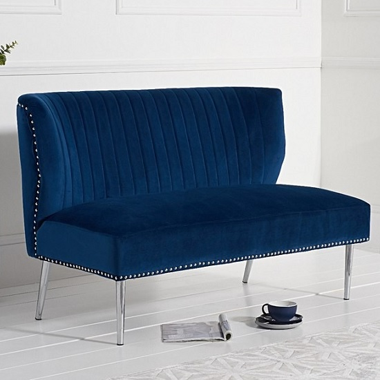 Image of Andean Modern 2 Seater Sofa In Blue Velvet With Metal Legs