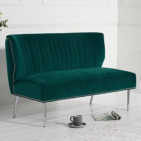 Image of Andean Modern 2 Seater Sofa In Green Velvet With Metal Legs