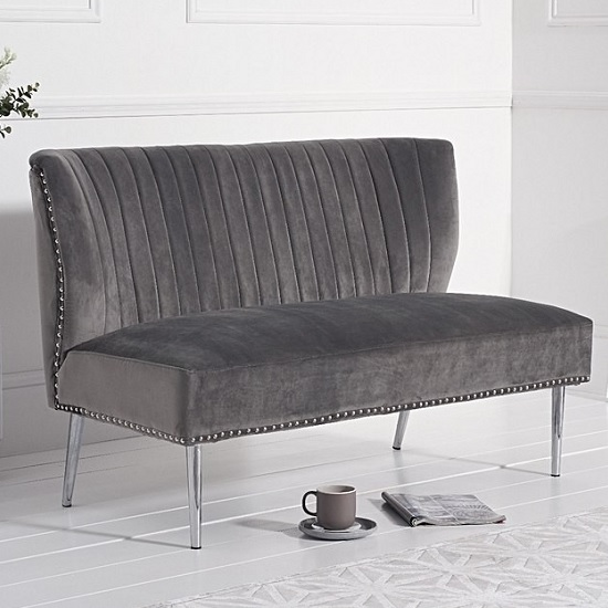 Image of Andean Modern 2 Seater Sofa In Grey Velvet With Metal Legs