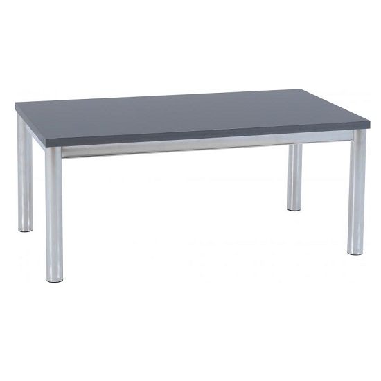 View Andi coffee table in grey gloss with chrome legs