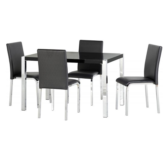 Andi Wooden Dining Table In Black Gloss With Four Dining Chairs