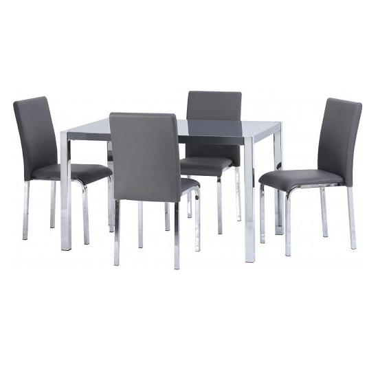 Andi Wooden Dining Table In Grey Gloss With Four Dining Chairs