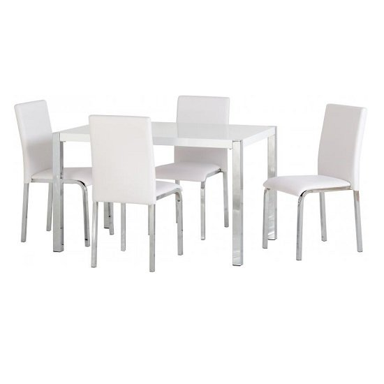 Andi Wooden Dining Table In White Gloss With Four Dining Chairs