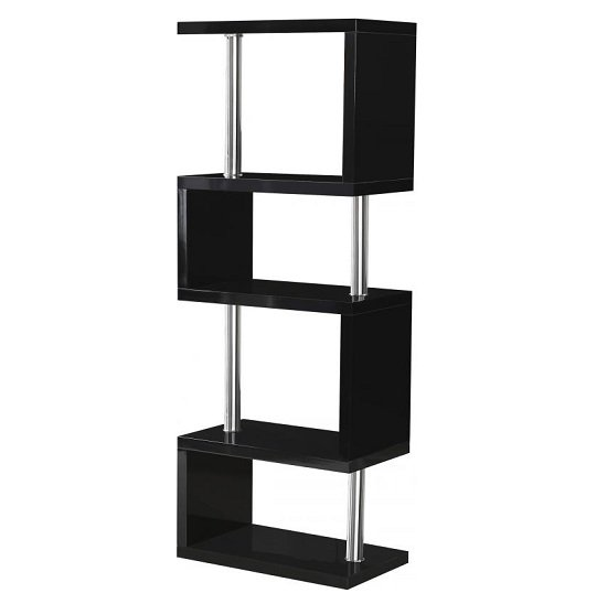 Andi Wooden Five Tier Shelving Unit In Black Gloss