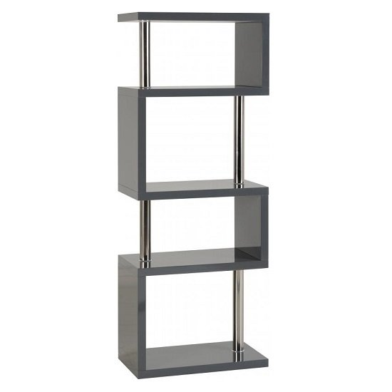 Andi Wooden Five Tier Shelving Unit In Grey Gloss_1