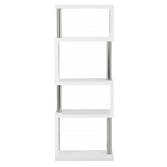 Andi Wooden Five Tier Shelving Unit In White Gloss