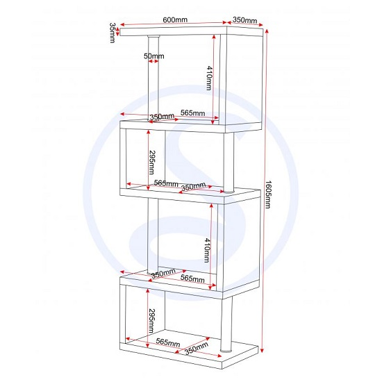 Andi Wooden Five Tier Shelving Unit In Grey Gloss_5