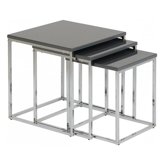Andi Nest Of Tables In Grey Gloss With Chrome Legs_1