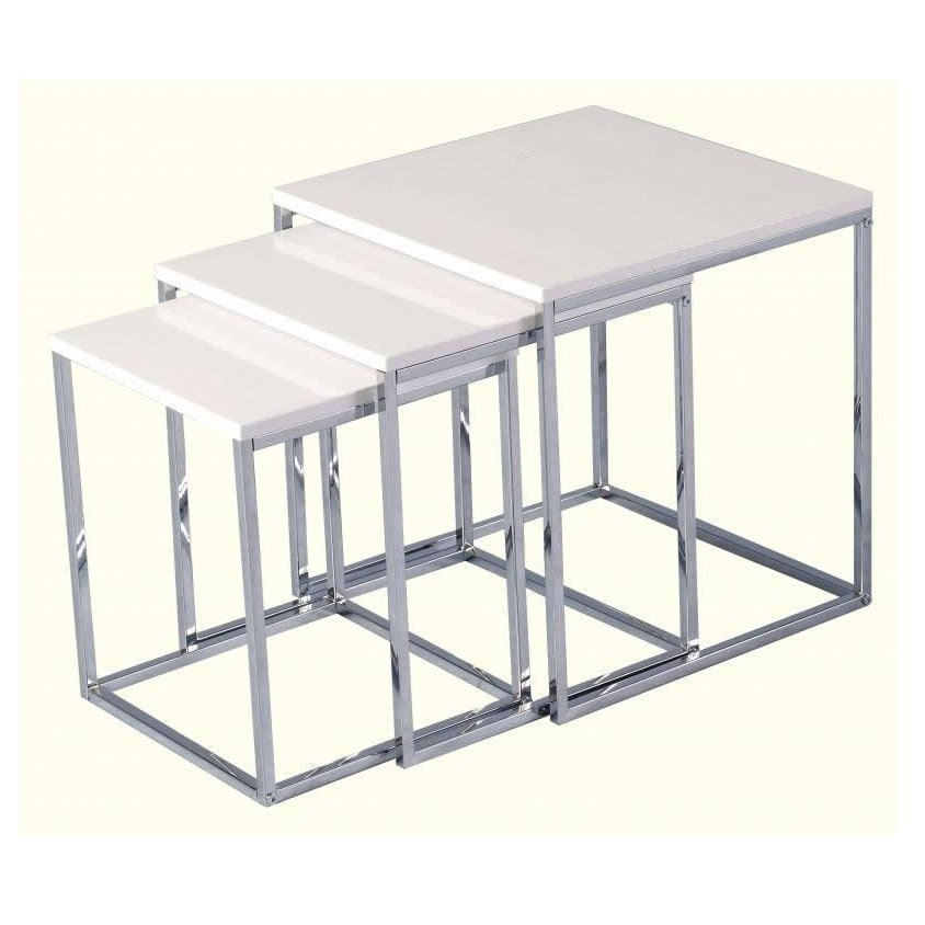 Andi Nest Of Tables In White Gloss With Chrome Legs