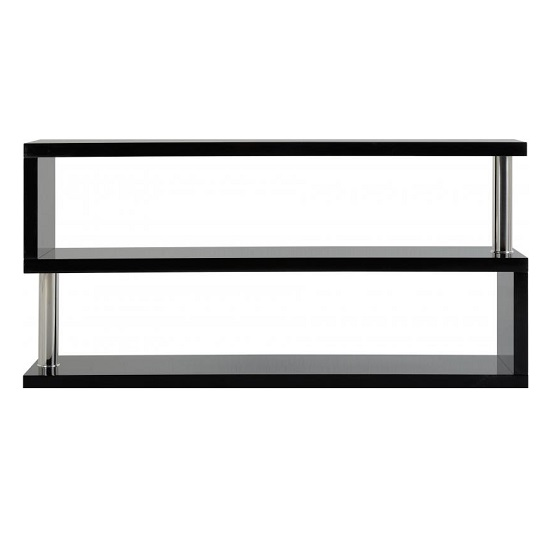 Andi TV Stand In Black Gloss With Chrome Poles_2