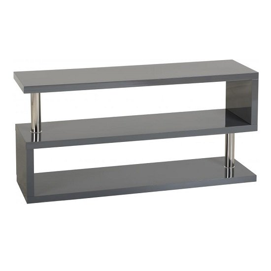 Andi TV Stand In Grey Gloss With Chrome Poles