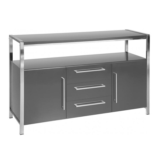 Andi Wooden Sideboard In Grey Gloss With Chrome Legs