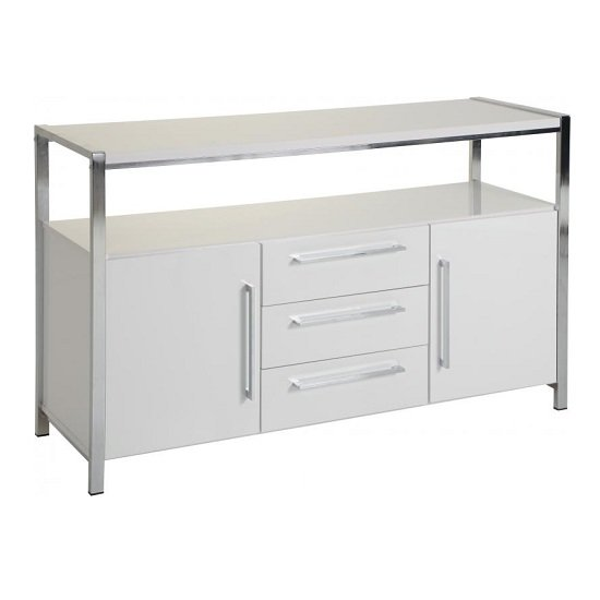 Andi Wooden Sideboard In White Gloss With Chrome Legs