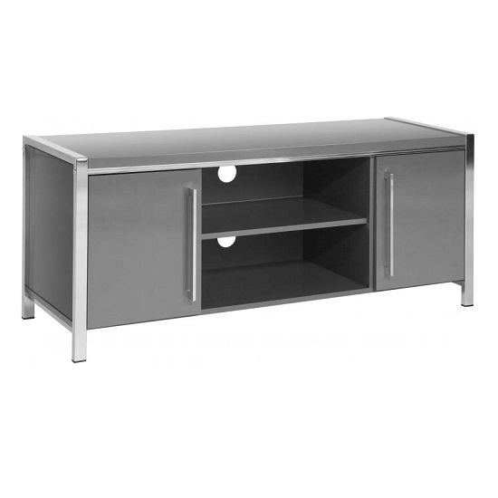 Andi Wooden TV Stand In Grey Gloss With Chrome Legs_1