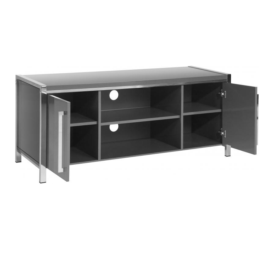 Andi Wooden TV Stand In Grey Gloss With Chrome Legs_2
