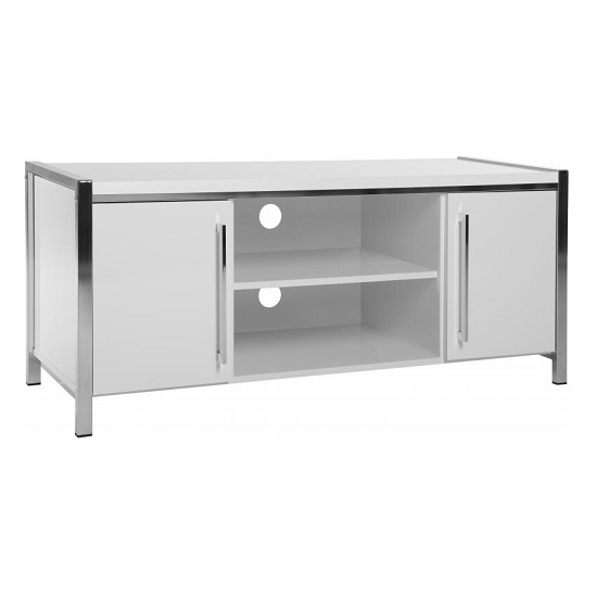 Andi Wooden TV Stand In White Gloss With Chrome Legs