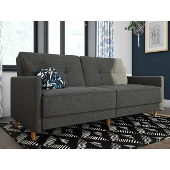 Andora Leather Sprung Sofa Bed In Grey Linen With Wooden Legs