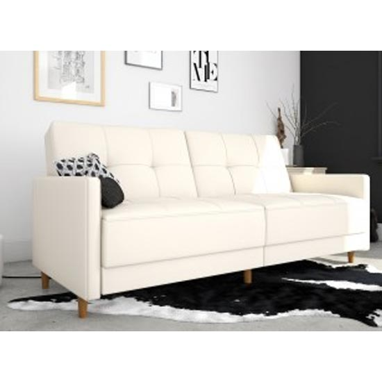 Andora Leather Sprung Sofa Bed In White With Wooden Legs