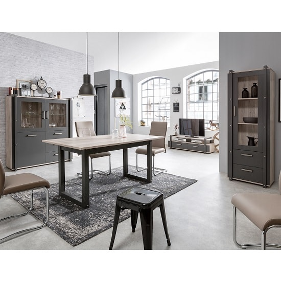 Andora Wooden Display Cabinet In Sorrento Oak And Anthracite_7
