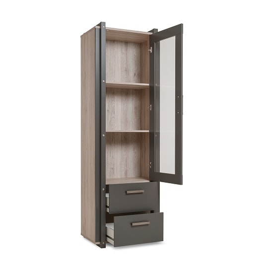 Andora Wooden Display Cabinet In Sorrento Oak And Anthracite_2