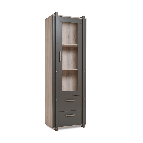Andora Wooden Display Cabinet In Sorrento Oak And Anthracite_3